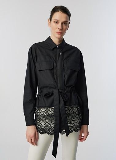 Monamoda Fermuarlı Eteği Güpürlü Ceket Siyah